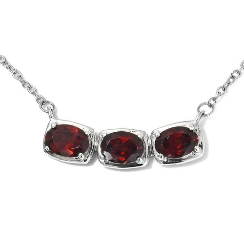 Mozambique Garnet Necklace (Size 18) in Platinum Overlay Sterling Silver 3.50 Ct.