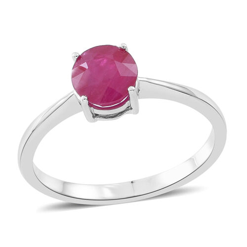9K White Gold 1 Ct AA Burmese Ruby Solitaire Ring