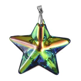 Simulated Mystic Topaz Star  (47X47) Pendant in Rhodium Overlay Sterling Silver
