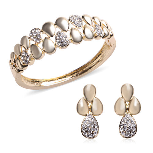 2 Piece Set - White Austrian Crystal Bangle (Size 7) and Dangle Earrings (with Push Back) in Gold To