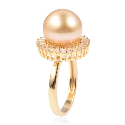 Golden South Sea Pearl (Rnd 11 - 11.5 mm), White Topaz Ring in Yellow Gold Vermeil Sterling Silver