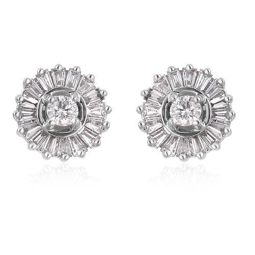 RHAPSODY 950 Platinum IGI Certified Diamond (Rnd) (VS/E-F) Stud Earrings (with Screw Back) 0.50 Ct.