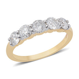 NY Close Out Deal- 14K Yellow Gold Diamond (Rnd) (I2-I3/G-H) Five Stone Ring 1.00 Ct.
