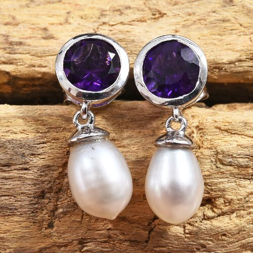 Amethyst (Rnd), Freshwater Pearl Earrings (with Push Back) in Platinum Overlay Sterling Silver 5.75 Ct.