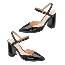 Ravel Croc-Print Zaza Patent Court Shoes in Black