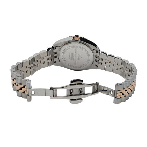 CHRISTOPHE DUCHAMP: Elysees Swiss Movement Watch With Diamonds  in Silver and Rose Gold Tone Stianless Steel