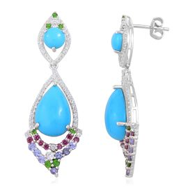 Arizona Sleeping Beauty Turquoise (Pear), Tanzanite and Multi Gemstone Earrings (with Push Back) in Rhodium Plated Sterling Silver 14.620 Ct. Silver wt 5.53 Gms. Number of Gemstone 138