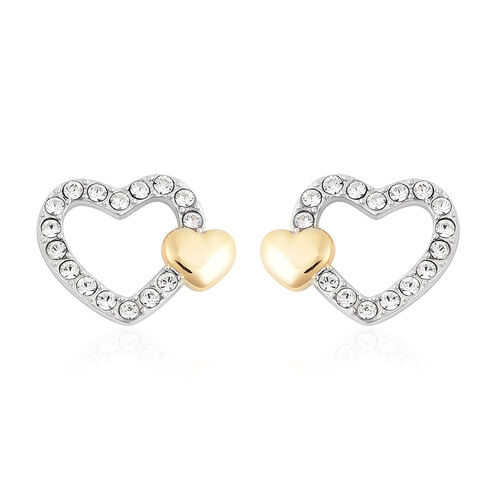 J Francis - Crystal from Swarovski White Crystal (Rnd) Heart Stud Earrings (with Push Back) in Two T