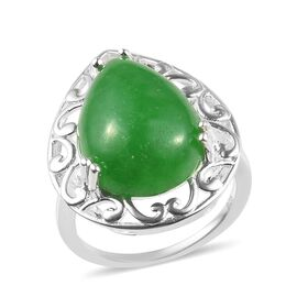 11.50 Carat Green Jade Solitaire Filigree Design Ring in Sterling Silver