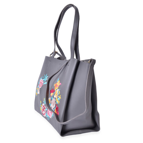 Grey, Red and Multi Colour Floral Embroidered Crossbody Bag with Shoulder Strap (Size 28.7X19X7 Cm)