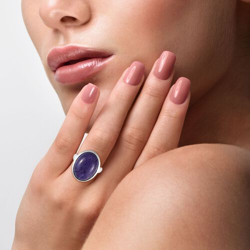 Collectors Edition AAA Russian Charoite (Ovl 20x15 mm) Solitaire Ring in Platinum Overlay Sterling Silver 15.00 Ct