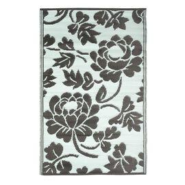 Green Colour Floral Pattern Jacquard Woven Reversible Mat (Size 90x150 Cm)