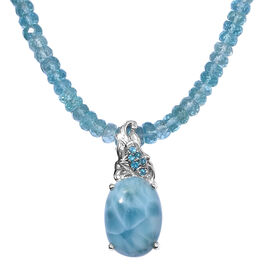 Larimar (Ovl 18x13 mm), Paraibe Apatite and Malgache Neon Apatite Necklace (Size 18 with 2 inch Extender) in Platinum Overlay Sterling Silver 86.500 Ct.