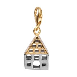 Platinum and Yellow Gold Overlay Sterling Silver Bird House Charm