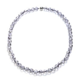 Monster Deal - Simulated Grey Crystal Beaded Neckalce with Magnetic Lock in Stainless Steel