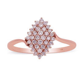 9K Rose Gold Natural Pink Diamond Ring 0.50 Ct.