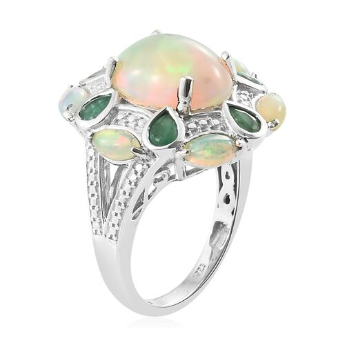 Limited Edition- Ethiopian Welo Opal (Ovl 3.20 Ct), Kagem Zambian Emerald Floral Ring in Platinum Overlay Sterling Silver 5.000 Ct. Silver wt 6.05 Gms.