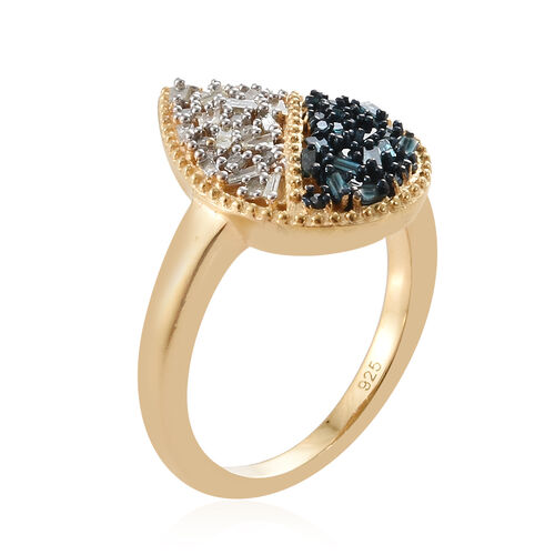 Blue and White Diamond (Rnd and Bgt) Ring in 14K Gold Overlay with Blue Plating Sterling Silver Ring 0.330 Ct.