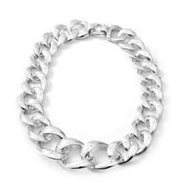 20 Inch Curb Link Statement Necklace in Rhodium Plated Sterling Silver 110 Grams