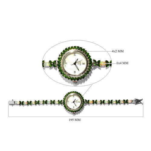 EON 1962 Russian Diopside (7.25 Ct) and Ethiopian Welo Opal (3.75 Ct) Bracelet Watch (Size 7.5) in Platinum Overlay Sterling Silver 11.00 Ct, Silver wt 22.20 Gms