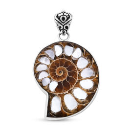 Royal Bali Collection Ammonite and Mother of Pearl Pendant in Sterling Silver
