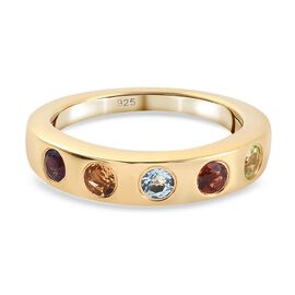 Multi gemstones Ring in 14K Gold Overlay Sterling Silver 0.75 ct  0.750  Ct.