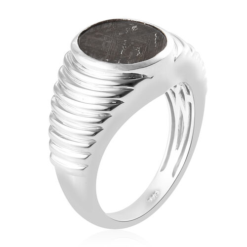 Tucson Special - Meteorite (Ovl 12x10 mm) Ring in Platinum Overlay Sterling Silver 9.17 Ct, Silver wt 8.41 Gms