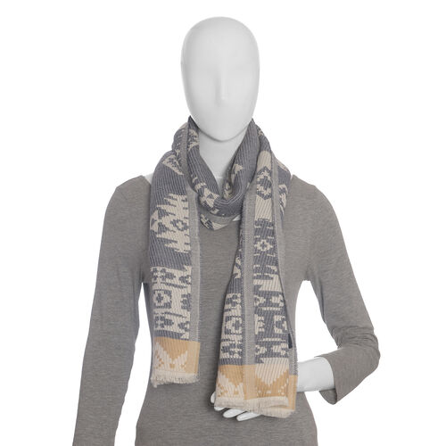 White and Grey Colour Scarf (Size 190x35 Cm)