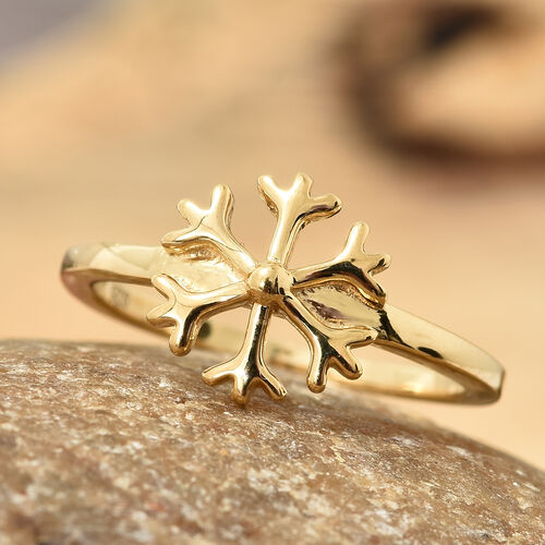 14K Gold Overlay Sterling Silver Snowflake Ring, Silver wt. 1.89 Gms.