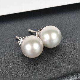 9K White Gold White South Sea Pearl Ball Stud Earrings (with Push Back)