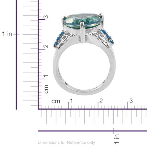 Peacock Quartz (Trl 8.75 Ct), Malgache Neon Apatite Ring in Platinum Overlay Sterling Silver 9.000 Ct. Silver wt 6.01 Gms.