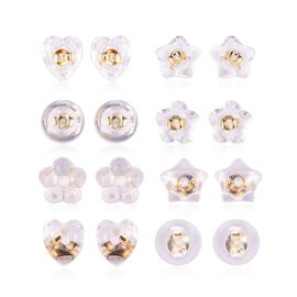 Set of 8 Pairs Super Earring Backs Heart,Flower,Star and Round Shape Back in Gold Plated Silver