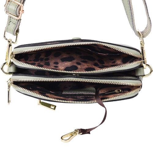 Sencillez 100% Genuine Leather Crossbody Bag with Adjustable Shoulder Strap in Green