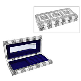 Flower Embossed Jewellery Storage Box with Blue Velvet Lining (Size 27x13x5 Cm)