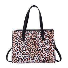 LOCK SOUL Light Brown Leopard Pattern Convertible Bag with Shoulder Strap