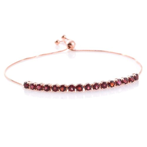 Arizona Anthill Garnet (Rnd) Adjustable Bracelet (Size 6.5 to 9) in Rose Gold Overlay Sterling Silver 2.000 Ct.