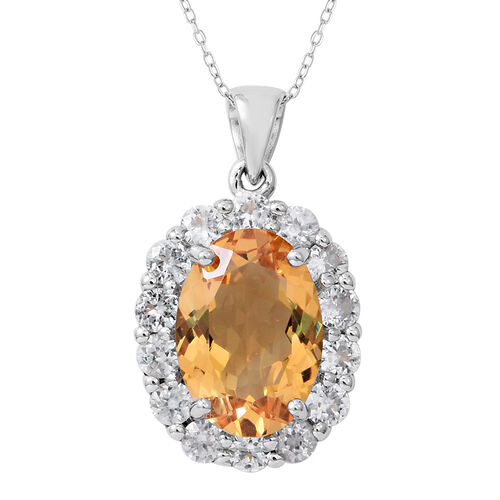 Limited Edition- Citrine (Rare Size Ovl 14x10 mm 5.25 Ct), Natural White Cambodian Zircon Pendant with Chain in Rhodium Plated Sterling Silver 8.000 Ct.