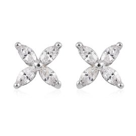 J Francis Made with SWAROVSKI ZIRCONIA 4 Petal Flower Earring in Platinum plated Sterling Silver