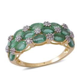 9K Yellow Gold AA Kagem Zambian Emerald (Ovl), Natural White Cambodian Zircon Ring (Size R) 4.000 Ct.Gold Wt