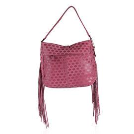 Designer Inspired- 100% Genuine Leather RFID Blocker Polka Dot Pattern Fuchsia Colour Handbag with F