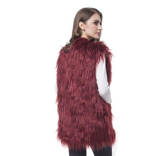 Designer Inspired Super Soft Wine Red Colour Faux Fur Gilet (Size 65X50 Cm)