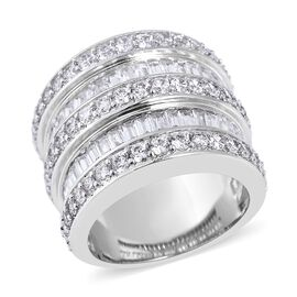 Simulated Diamond (Rnd and Bgt) Multi Row Ring in Silver Plated