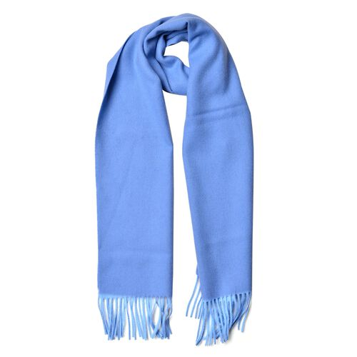 Super Soft 100% Wool Sky Blue Colour Scarf with Tassels (Size 180X30 Cm)
