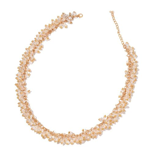 Simulated White Diamond Necklace (Size 18 with 2 inch Extender) and Hook Earrings