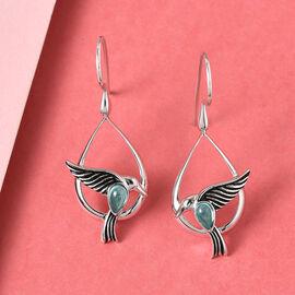 Sajen Silver NATURES JOY Collection - Blue Green Apatite Flying Bird Enamelled Hook Earrings in Rhod