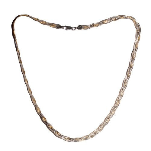Yellow Gold Overlay Sterling Silver Braided Herringbone Chain (Size 18), Silver wt 10.40 Gms
