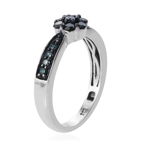 Close Out Deal- Blue Diamond (I2-I3) Floral Ring in Platinum Overlay Sterling Silver 0.500 Ct.