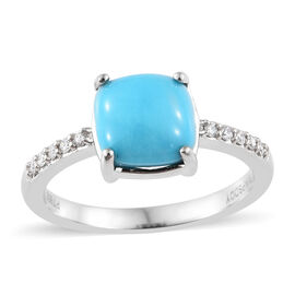 RHAPSODY 950 Platinum Arizona Sleeping Beauty Turquoise (Cush 2.00 Ct) Diamond Ring 2.100 Ct.