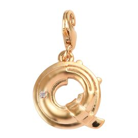Diamond (Rnd) Initial Q Charm in 14K Gold Overlay Sterling Silver