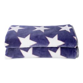 Microfiber Flannel Printed Blanket with Star Pattern in Purple and White Colour (Size 200x150 Cm)